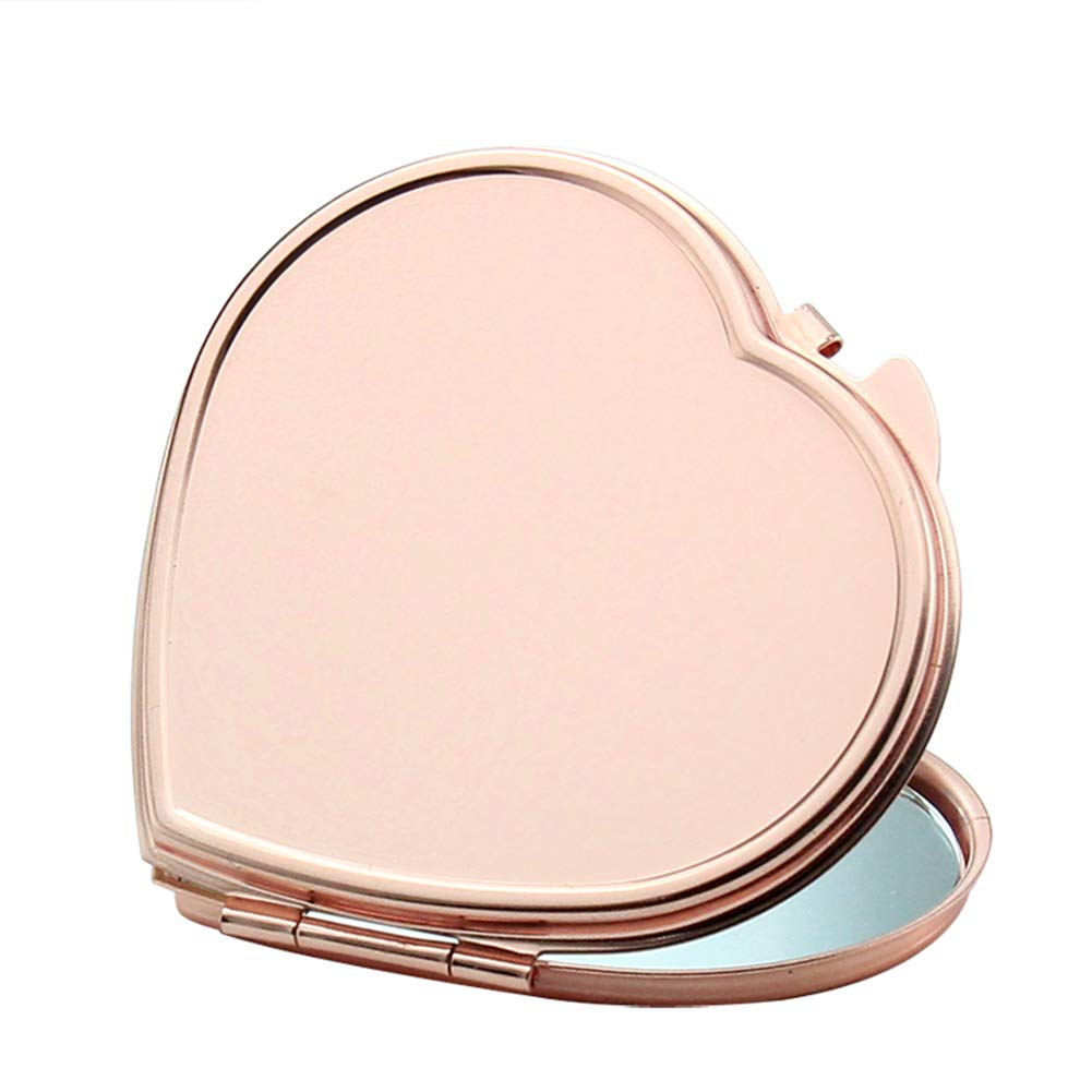 YaptheS Portable Purse Mirror Rose Golden Makeup Compact Mirror Folding Pocket Mirror for Traveling, Camping-Heart Shape Tools Make You Beautiful