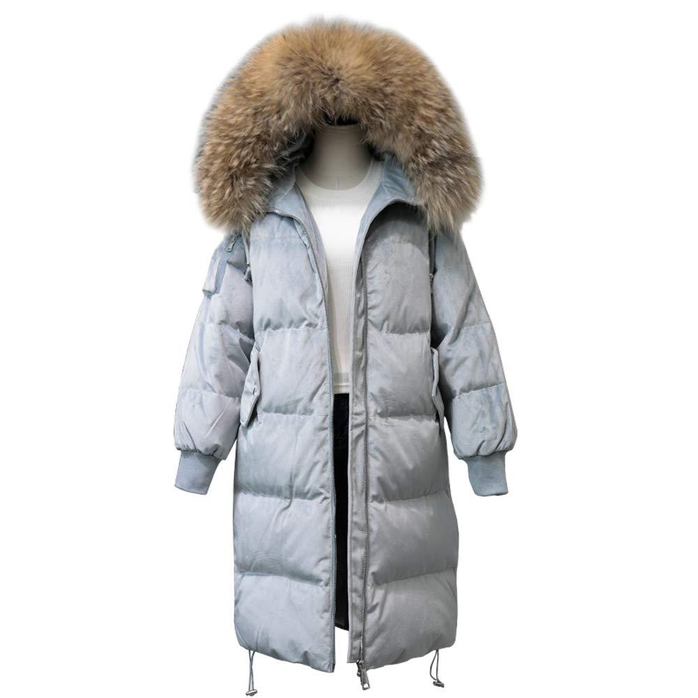 LQYRF Winter Damen Lange SAMT Locker Warm Mit Kapuze Großen Pelzkragen Daunenjacke