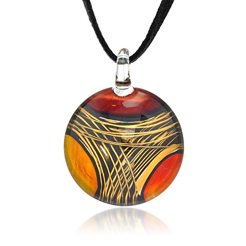 Murano Glass Pendant Orange (Chuvora Hand Painted Venetian Murano Glass Multi-Colored Red Orange Yellow Pendant Necklace, 18-20 inches)