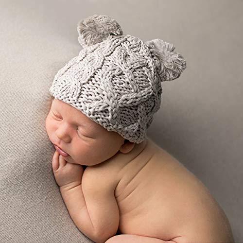 b68243d0409 Amazon.com  Huggalugs Tan Baby Cable Knit Pom Pom Newborn Boy Hospital Hat   Clothing