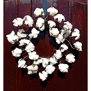 Faux Cotton Wreath made of Preserved Cotton Bolls Attached to Flexible Stems for that Rustic Farmhouse Home Decor in 12-14 Inch Diameter 113