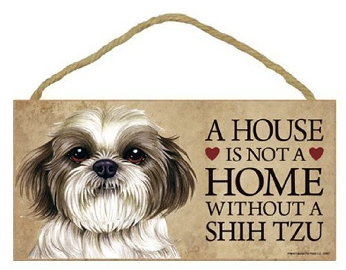 AMELIA SHARPE A House is Not A Home Without Shih Tzu Puppy Cut Short Hair Cut Decor 12 x 8ative Wooden Sign Cabin Wall Decor 12 x 8 Plaques Door Sign