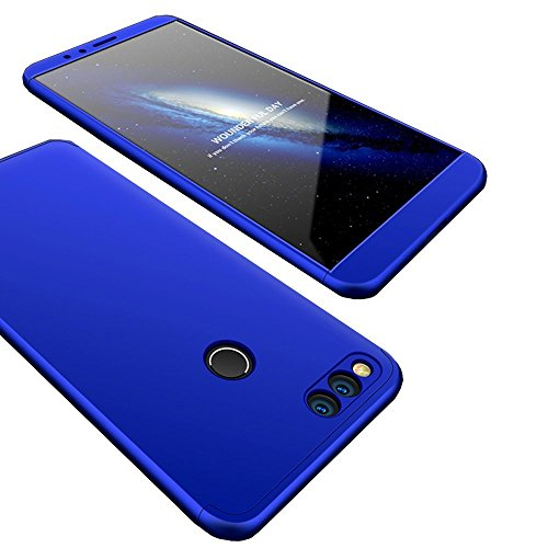 info for 6f85f 0cf18 BIGZOOK [Slim & Thin Fit Tightly] [360 Degree Protection] Hybrid Bumper 3  in 1 Electroplated Hard Case for Huawei Honor 7X (2017 Release) (Blue)