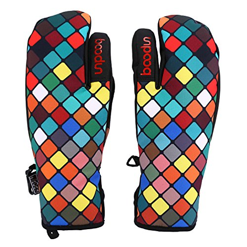 (SUNVP Winter Gloves for Unisex Windproof & Waterproof Keep Warm Snowboard Snowmobile Mitten,Snowboarding and Cycling (Colorful Cube-S))