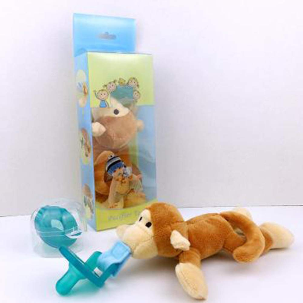 Newin Star Chupete bebé,Chupete con Peluche colgante Juquete de muñeca infantil con Chupete de Silicona sin BPA forma de conejo animado para niños