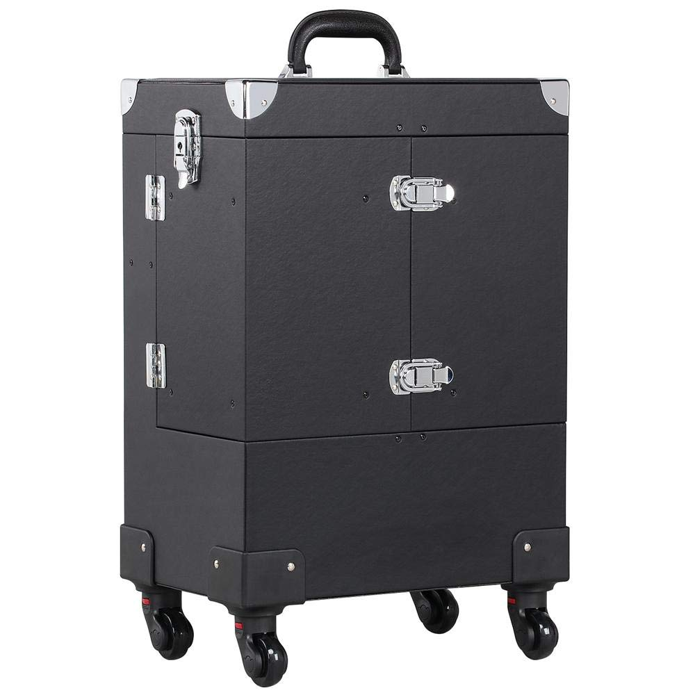 go2buy Multi-functional Rolling Makeup Case Beauty Cosmetic PVC Leather Organizer Box Trolley Black