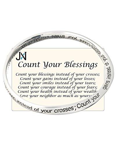 Bijoux Nexus Femme Count Your Blessings inspirants Mots Bracelet