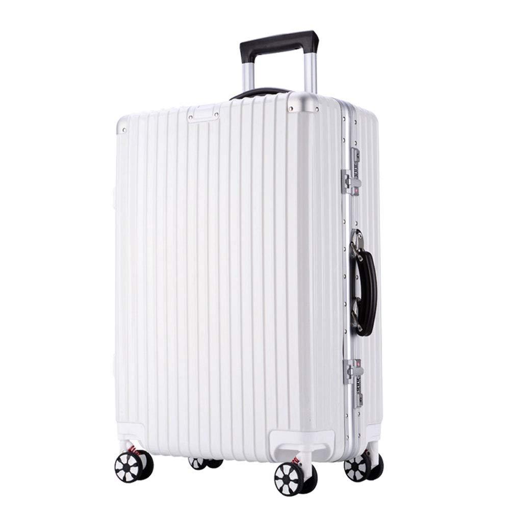 DS-トロリー トロリーケース - ABS/PC、内蔵パスワードロック、快適なハンドル、スタイリッシュで小さくて鮮やかなアルミフレームキャスターの学生大容量スーツケース - 4色、2サイズあり && (色 : 白, サイズ さいず : 45*28.5*65.5cm) B07MMHST89 白 45*28.5*65.5cm