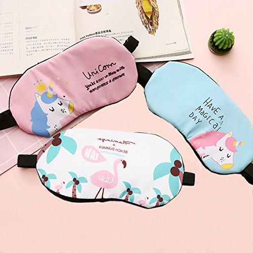 Fashion Unicorn Flamingos 4Pcs Sleep Mask Cover Lightweight Blindfold Soft Eye Mask for Men Women Kids by Yosbabe (Image #1)