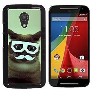 YiPhone /// Prima de resorte delgada de la cubierta del caso de Shell Armor - Handlebar Siamese Cat Glasses Funny - Motorola MOTO G 2ND GEN II
