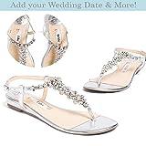 "Flat Wedding Shoes -""Patent-Pending"" personalization - Silver wedding sandal - Style Bella"