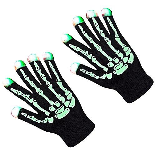 ZPTONE LED Gloves Skeleton Gloves 3 Color 6 Mode Flashing Finger Lights Halloween Costume Party Favors Light Up Toys Novelty Christmas Gift
