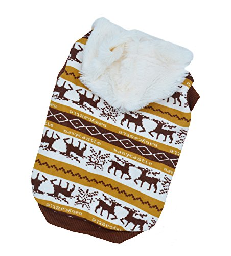 Pet Clothes Dog Deer Pattern Hoodies for Christmas/Halloween Puppy Sweaters for Winter Brown (Deer Costume For Dog)