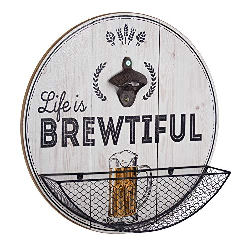 Life is Brewtiful Bottle Opener and Cap Catcher Wall Decor for Bar, Garage or Man Cave