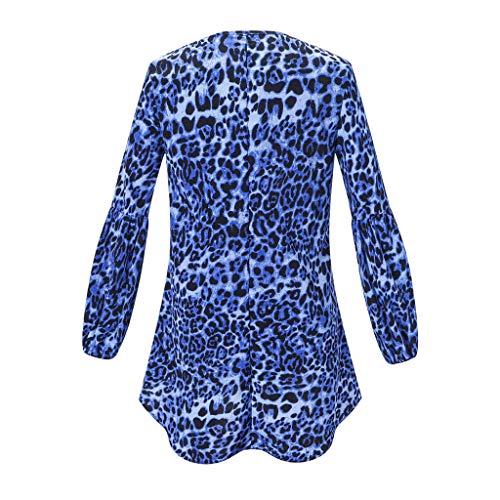 Henley Shirts Dress Iuhan Fashion Women Long Puff Sleeve Leopard Sweatshirt Top Blouse by Iuhan Women Blouse (Image #3)
