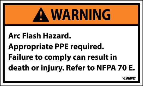 "NMC WGA17AP Arc Flash Label, ""WARNING ARC FLASH HAZARD...etc"", 5"" Width x 3"" Height, Pressure Sensitive Vinyl, Black/Orange On White (Pack of 5)"