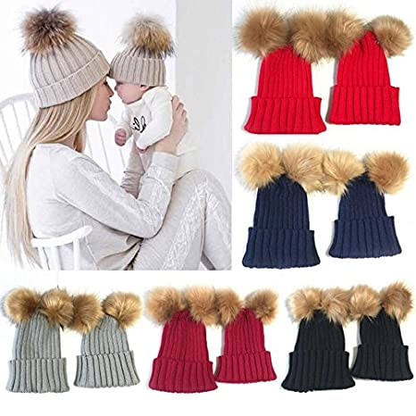 03b4db5b79f Buy Generic Red   2PC Mom And Kids Hats Set Double Ball Winter childen Beanie  Hats Wool Knit Fur Woman Caps Family Matching Outfits Krysatal Online at  Low ...