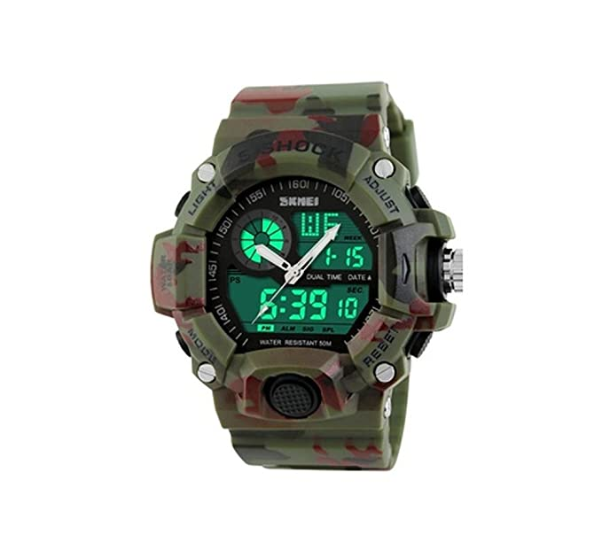 fd7ddf4de7a Amazon.com  Skmei 1029 S-Shock Camou flage Digital Watch Military ...