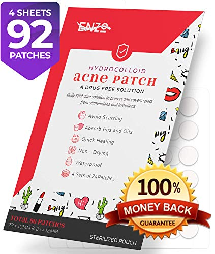 Acne Pimple Patches - Master Hydrocolloid Patch 96 Count (4 Sets of 24 Patchs) for Zits, Whitehead Pores, Adult Blemishes, Hormonal spots & freckles