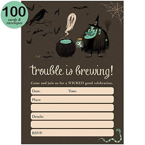 Blank Space Costume (Witch Halloween Party Invites & Envelopes ( Pack of 100 ) Trouble Is Brewing Spooky Kids Children's Party Fill-In Large Blank 5x7