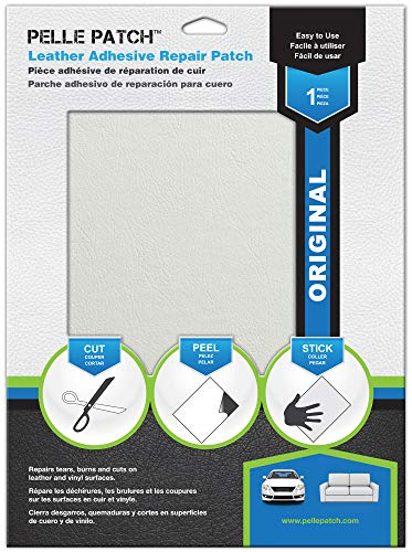 (Pelle Patch - Leather & Vinyl Adhesive Repair Patch - 25 Colors Available - Original 8x11 - White)
