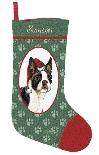 Personalized Boston Terrier Pet Christmas Stocking (Christmas Stocking Tapestry Dog)
