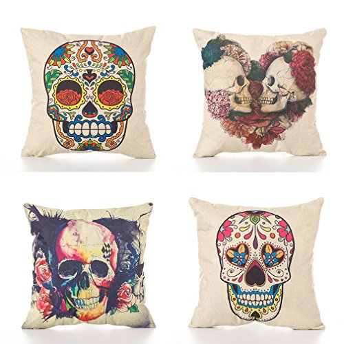 PSDWETS Halloween Decorations Cute Skull Pillow Covers Set of 4 Home Decor Cotton Linen Throw Pillow Covers Cushion Cover 18 X 18 ()