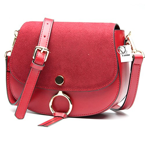 Yoome Nubuck Leather Saddle Bag para mujeres de piel de vaca Punk Shoulder Bag Ring Crossbody Rivet Bag - Gris Borgoña