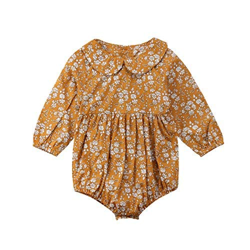 Newborn Baby Girls Floral Print Long Sleeve Round Neck Vintage Romper Infants Ruffles Jumpsuit (0-6M)