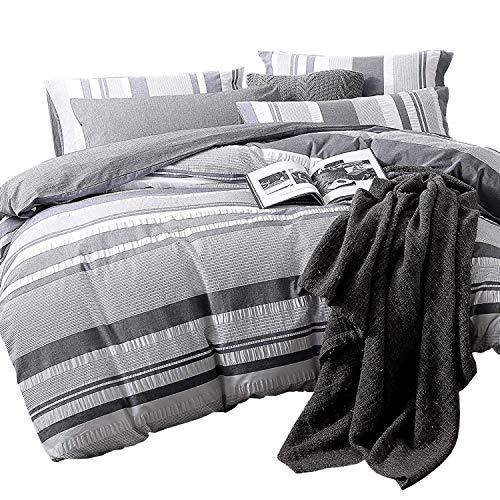 NTBAY 3 Pieces Reversible Duvet Cover Set 100% Cotton Seersucker Woven Grey Striped Jacquard with Hidden Zipper, Queen Size, Grey