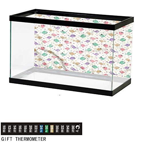 bybyhome Fish Tank Backdrop Birds,Happy Avian Animal Characters,Aquarium Background,60
