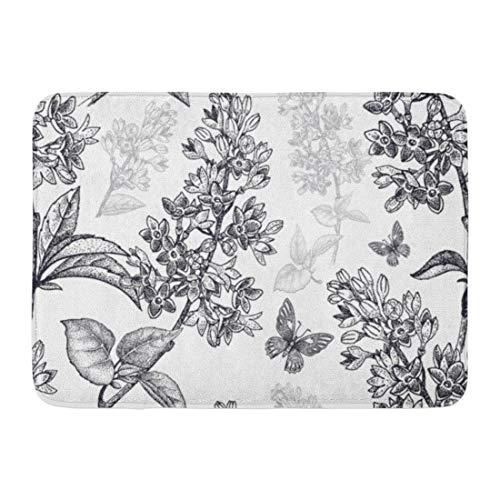 Emvency Doormats Bath Rugs Outdoor/Indoor Door Mat Abstract Spring Flowers Floral Pattern Garden Plants Lilac Butterfly Black on Vintage for Oriental Bathroom Decor Rug Bath Mat 16