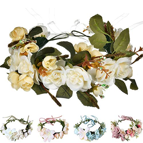 - Handmade Adjustable Flower Wreath Headband Halo Floral Crown Garland Headpiece Wedding Festival Party (E-(Beige))