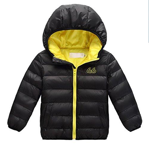 YISUMEI Unisex Down Jacket Coat Waterproof Black Yellow 7
