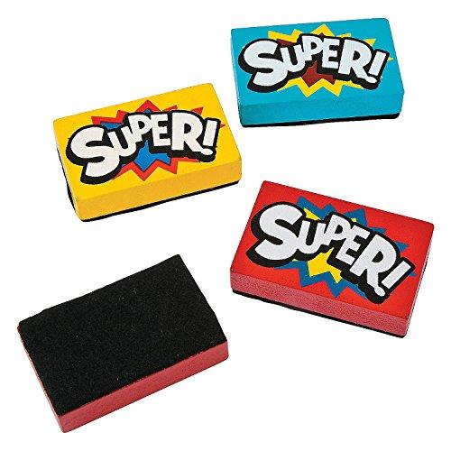 Wooden Superhero Mini Dry Erase Erasers (12 Pack) 2 1/4