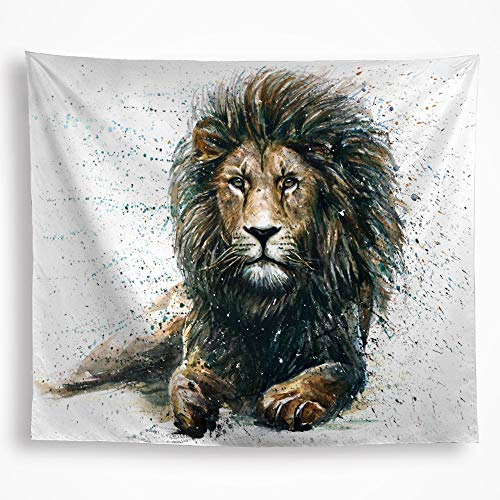 VAKADO Lion Tapestry Wall Hanging Colorful Leo African Lion King Watercolor Wild Animal Drawing Home Décor Art for Boy's Room Living Room Dorm 51x59 Inch White