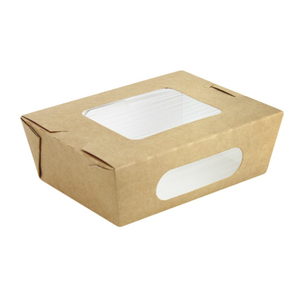 PacknWood Kraft Paper Take-Out Salad Box with 2 Windows, 35 oz. Capacity (Case of 160)