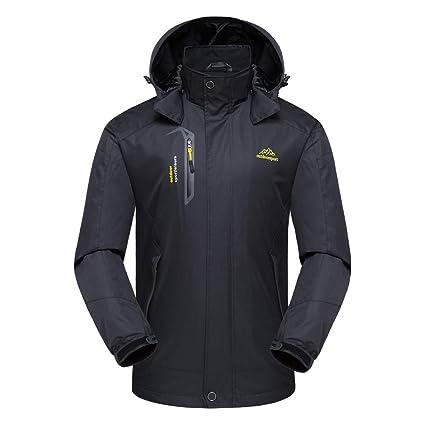 3428a77f9 Lixada Men's Waterproof Jacket Windproof Ski Jacket Outdoor Hiking  Traveling Cycling Sports Detachable Hooded Raincoats
