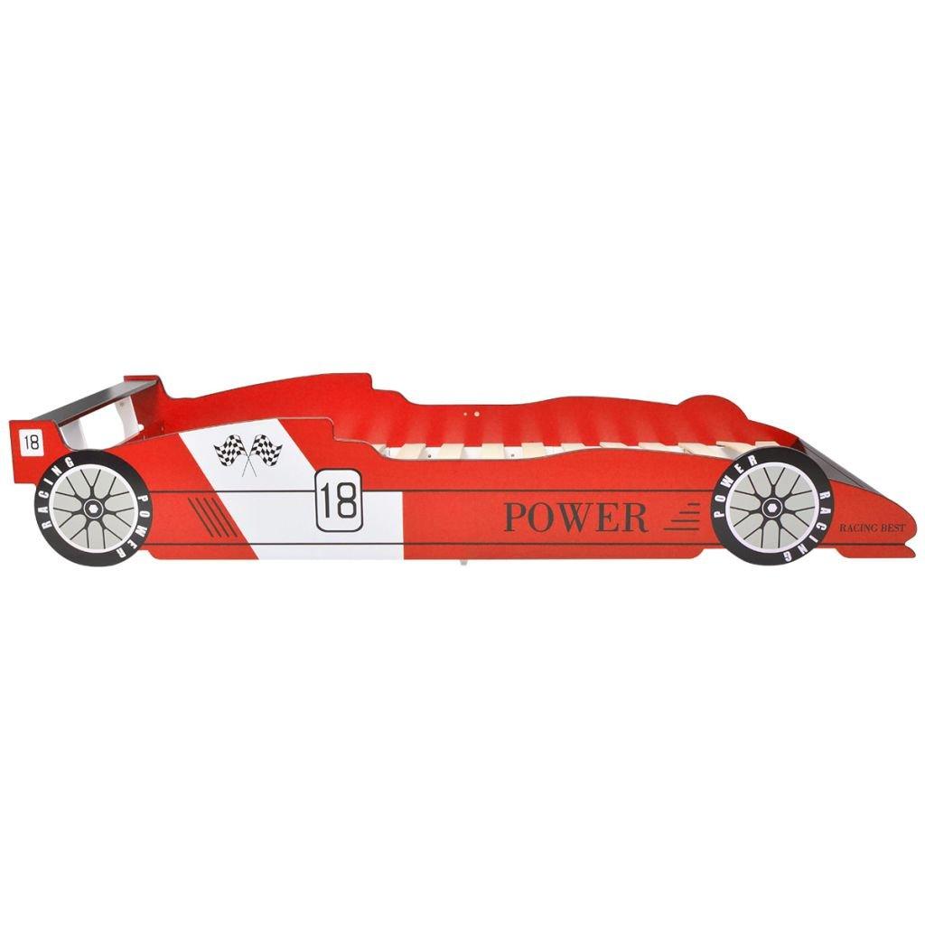 Festnight Kinderbett Autobett Rennwagen ohne Matratze 90x200 cm Rot