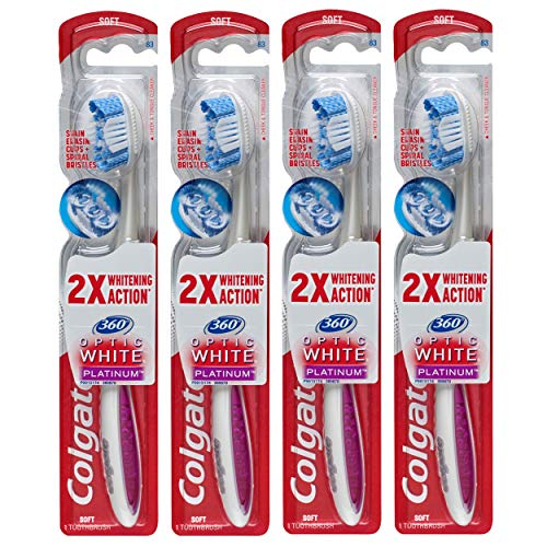 Colgate 360 Optic White Platinum Whitening Toothbrush with Tongue and Cheek Cleaner, Soft – 4 Count