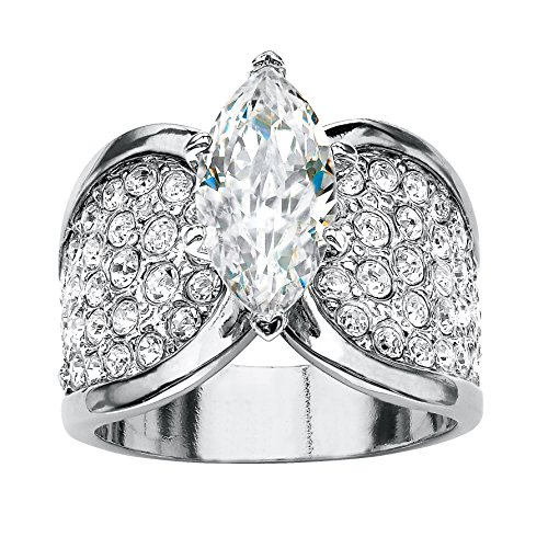 Platinum Marquise Ring (Marquise-Cut and Pave White Cubic Zirconia Platinum-Plated Engagement Ring Size 8)