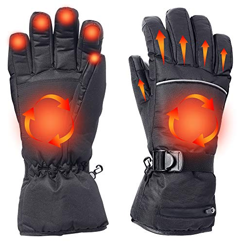 Alritz Battery Heated Gloves for Men Women, 7.4V Rechargeable Winter Warm Gloves Waterproof Insulated Hand Warmers for Indoor Outdoor Sports, Skiing, Climbing, Motorcycle, Three Heating Mode (Large)