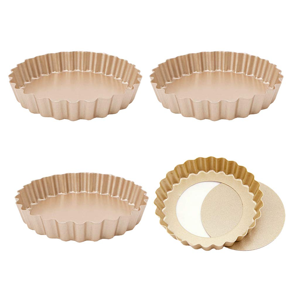 Ancdream Round and Rectangle Fluted Tartlet Tins with Loose Bases, 10 cm (Set of 4) Ancdrem