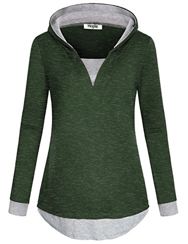 Hibelle Hooded Tunic, Women Full Sleeve Tees V Neck Stretchable Modest Lightweight 2 in 1 Contrast Color Fall Pullover Jumper Hoody Sweatshirt Hoodies for Gym Tops Green XXL ST Patricks Day Shirt