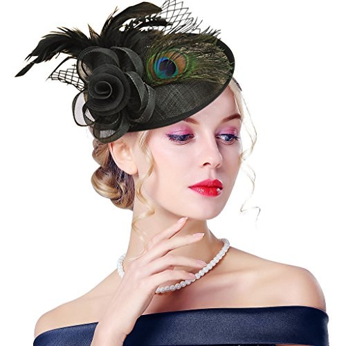Edith qi Lady Retro Peacock Cocktail Fascinators Sinamay Derby Hats for Wedding Party Black ()