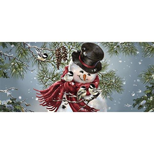 Evergreen Snowman - Evergreen Snowman Snuggles Sassafrass Decorative Mat Insert, 10 x 22 inches