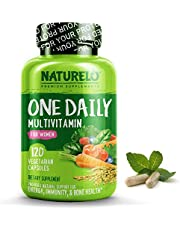 NATURELO One Daily Multivitamin for Women - Best for Hair, Skin Nails - Natural Energy Support - Whole Food Supplement - Non - GMO - No Soy - Gluten Free 120 Capsules