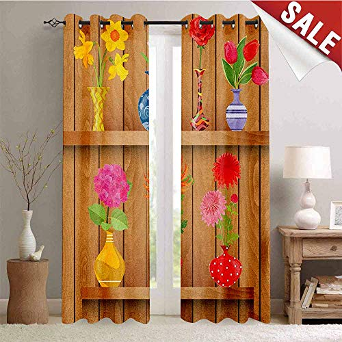 Hengshu Daffodil Window Curtain Drape Glass Vases with Colorful Flowers on Wooden Shelves with Pastel Effects Artsy Graphic Customized Curtains W96 x L96 Inch Multi