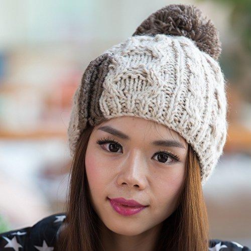 Maozi el para Knit de del otoño Grande Bola Sombrero de Red BEIGE Invierno Moda Coreana Versión Patrones 4wRq4rg