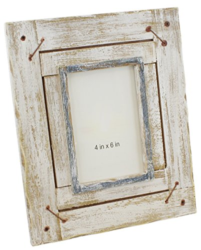 Old River Outdoors Rustic Distressed Whitewash Wood Picture Photo Frame - Table Top 4x6 Shabby Chic - Wood Picture Frame Frames Whitewash